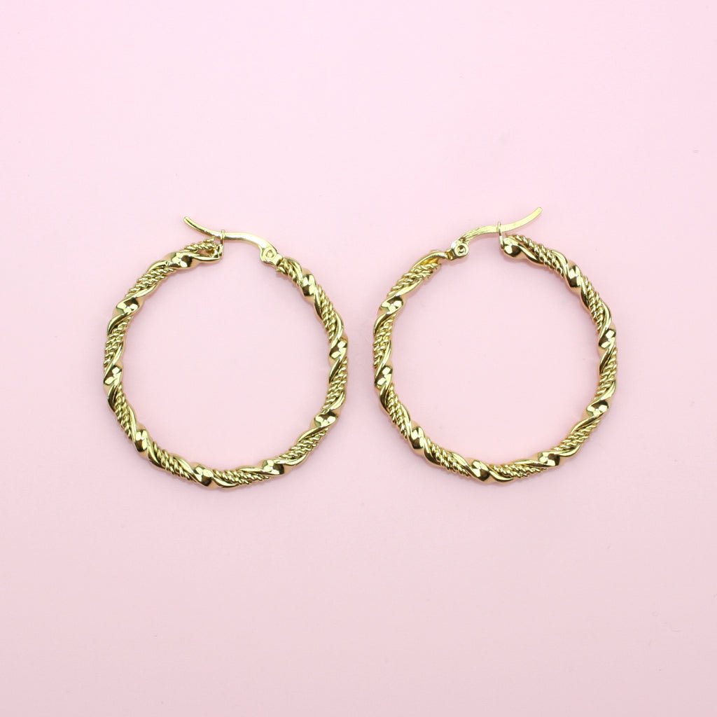 40mm Chunky Twisted Hoop Earrings (Gold Plated)
