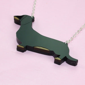 Black Dachshund Sausage Dog Necklace