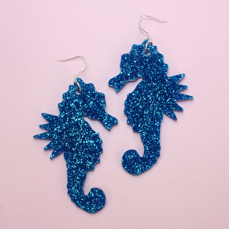 Large Blue Glitter Under The Sea Earrings