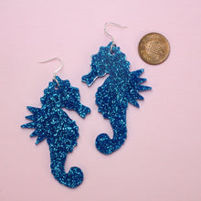 Load image into Gallery viewer, Large Blue Glitter Under The Sea Earrings