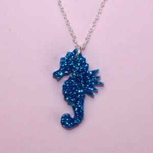 Small Blue Glitter Under The Sea Necklace