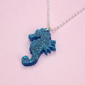 Small Blue Glitter Under The Sea Necklace - Sour Cherry