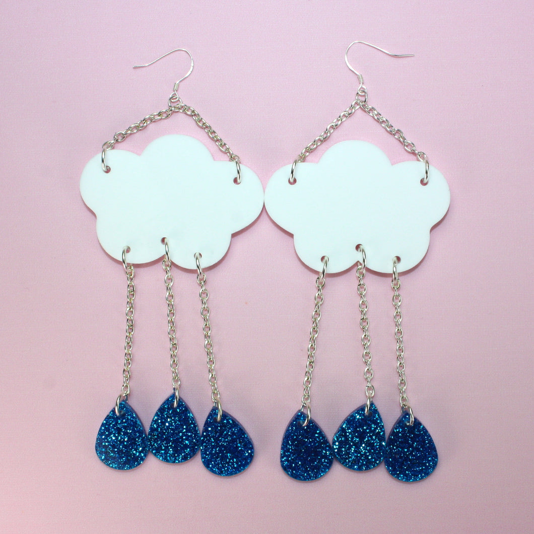 Blue Glitter Acid Rain Earrings