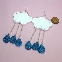 Load image into Gallery viewer, Blue Glitter Acid Rain Earrings