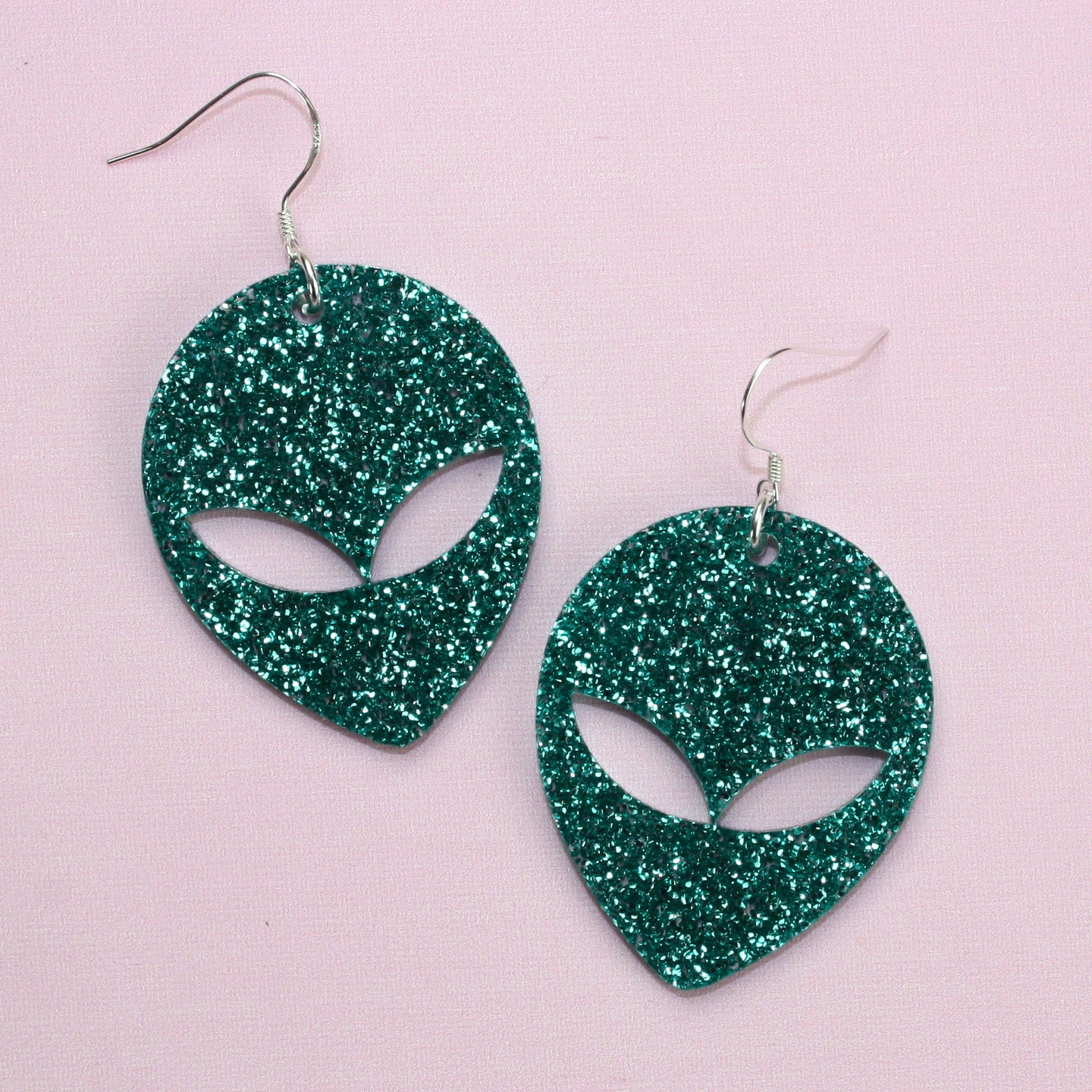 Green Glitter Alien Earrings