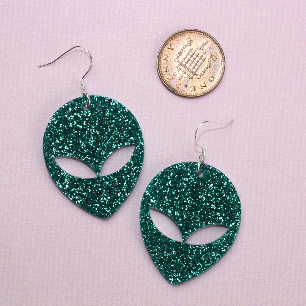Load image into Gallery viewer, Green Glitter Alien Earrings - Sour Cherry