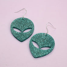 Load image into Gallery viewer, Green Glitter Alien Earrings