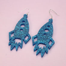 Load image into Gallery viewer, Large Blue Glitter Rocket Earrings