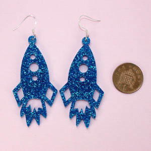 Large Blue Glitter Rocket Earrings