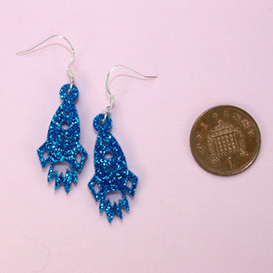 Small Blue Glitter Rocket Earrings