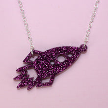 Load image into Gallery viewer, Large Purple Glitter Rocket Necklace