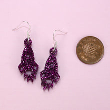 Load image into Gallery viewer, Small Purple Glitter Rocket Earrings
