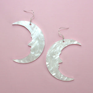 Load image into Gallery viewer, Large White Marble Moon Earrings - Sour Cherry