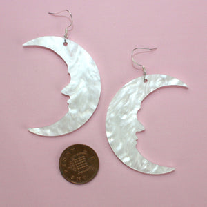 Large White Marble Moon Earrings