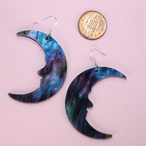 Large Galaxy Marble Moon Earrings