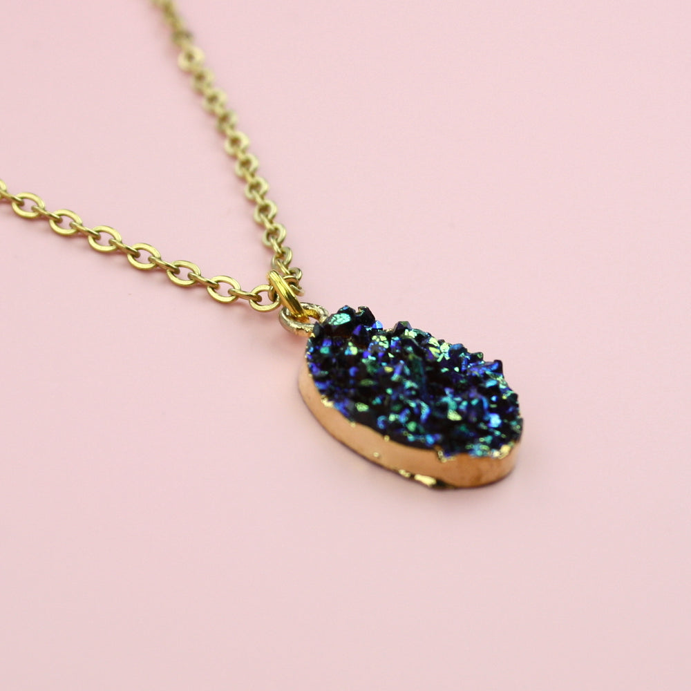 Load image into Gallery viewer, Blue Druzy Necklace