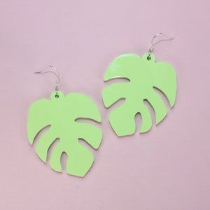Large Pastel Green Monstera Earrings - Sour Cherry