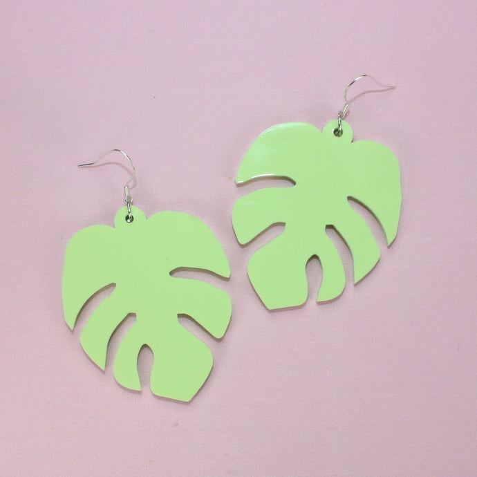 Large Pastel Green Monstera Earrings