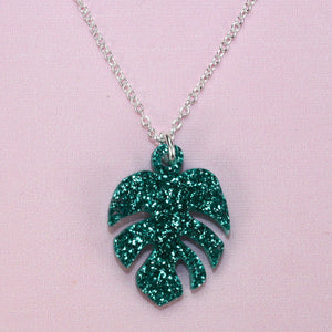 Green Glitter Monstera Necklace - Sour Cherry