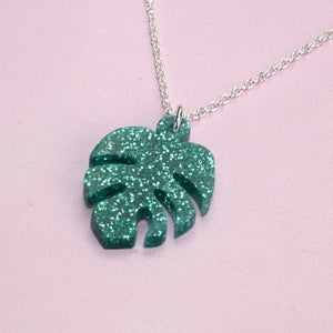 Green Glitter Monstera Necklace