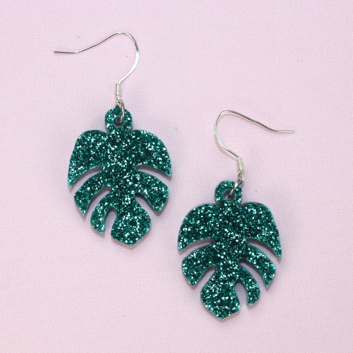 Small Green Glitter Monstera Earrings
