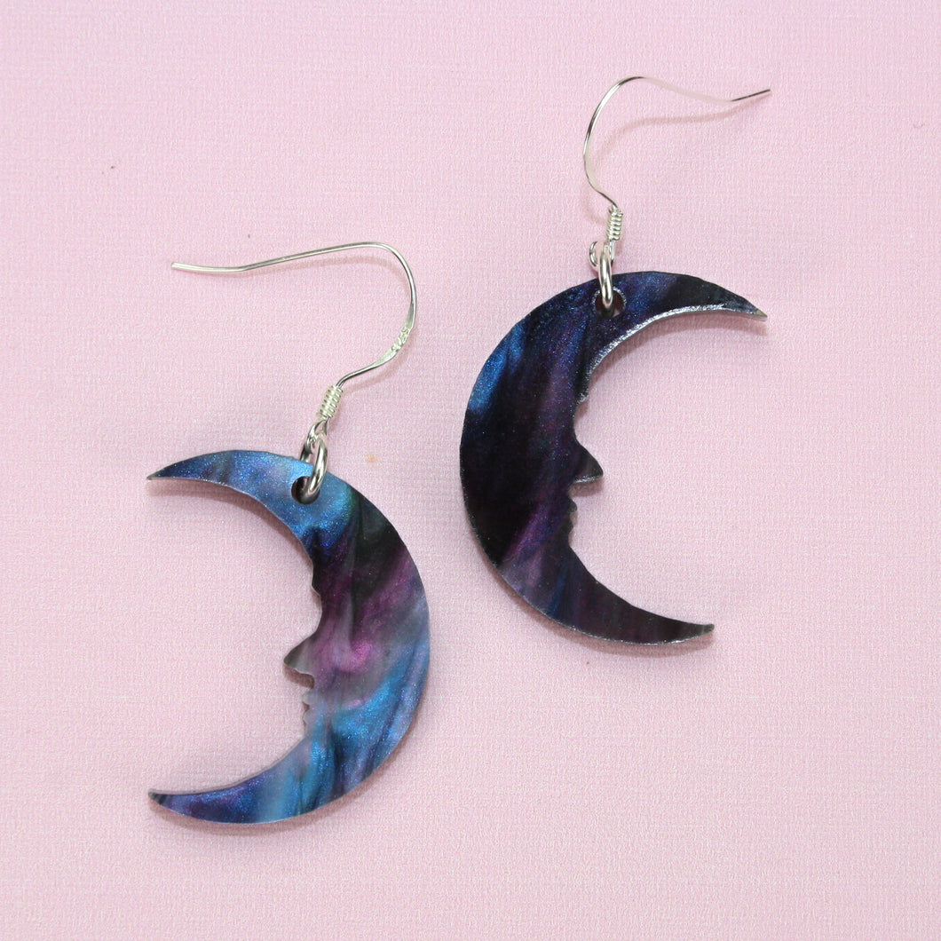 Small Galaxy Marble Moon Earrings