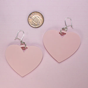 Baby Pink Heart Drop Earrings
