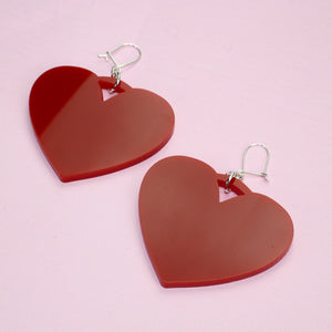 Red Heart Drop Earrings - Sour Cherry