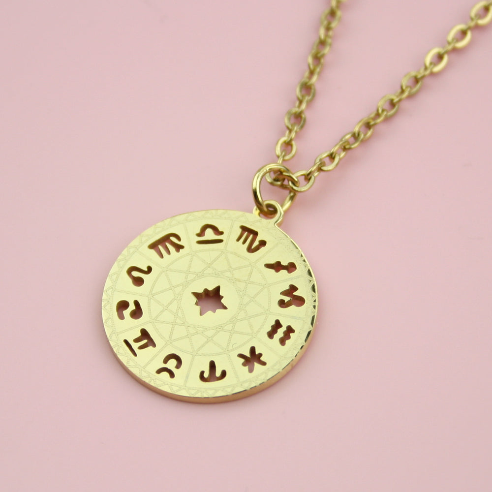 Astrology Wheel Necklace (Gold Plated)