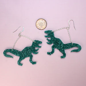 Large Green Glitter T-rex Earrings