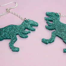 Load image into Gallery viewer, Large Green Glitter T-rex Earrings