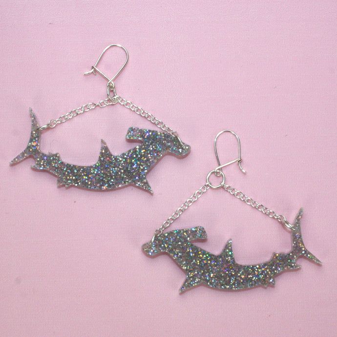 Holographic Hammerhead Shark Earrings