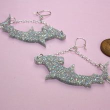 Load image into Gallery viewer, Holographic Hammerhead Shark Earrings