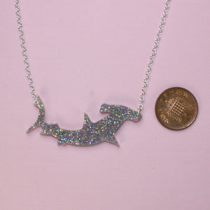 Holographic Hammerhead Shark Necklace - Sour Cherry