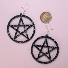 Load image into Gallery viewer, Black Glitter Pentagram Earrings