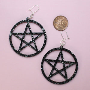 Black Glitter Pentagram Earrings