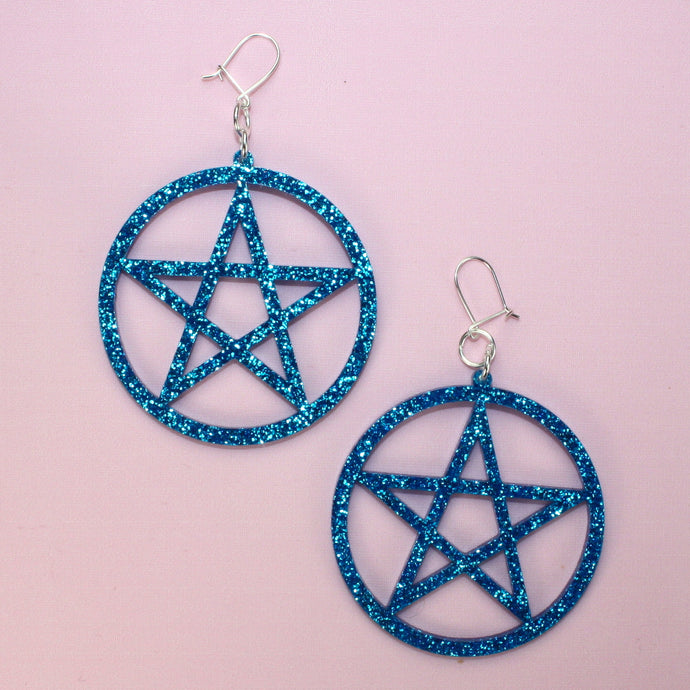 Blue Glitter Pentagram Earrings