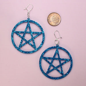 Blue Glitter Pentagram Earrings - Sour Cherry