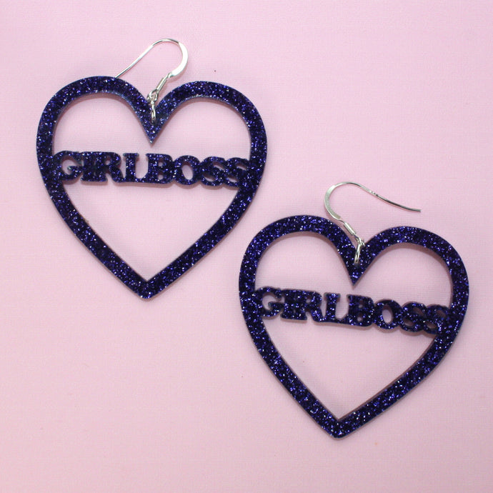 Purple Glitter GIRLBOSS Heart Earrings