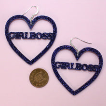 Load image into Gallery viewer, Purple Glitter GIRLBOSS Heart Earrings
