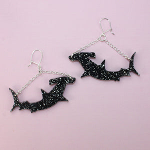 Black Hammerhead Shark Earrings - Sour Cherry