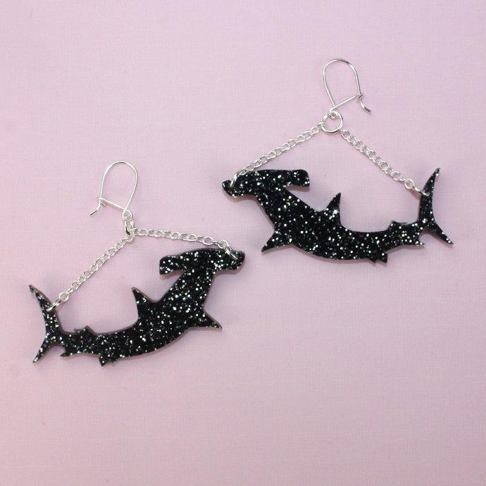 Black Hammerhead Shark Earrings