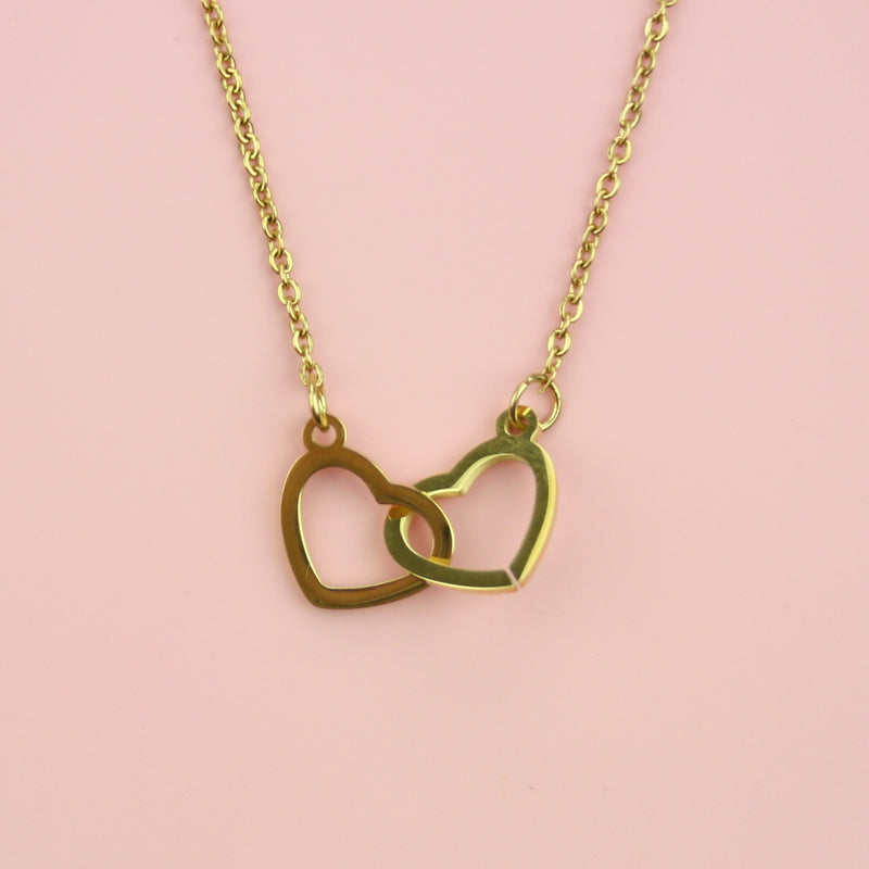 Double Heart Necklace (Gold Plated)