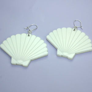 White Shimmer Shell Earrings