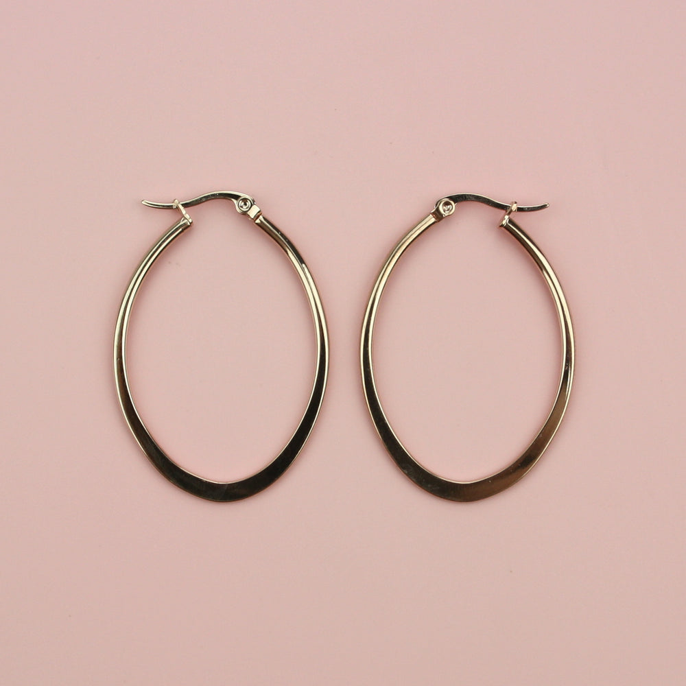 40mm Oval Hoop Earrings (Rose Gold)