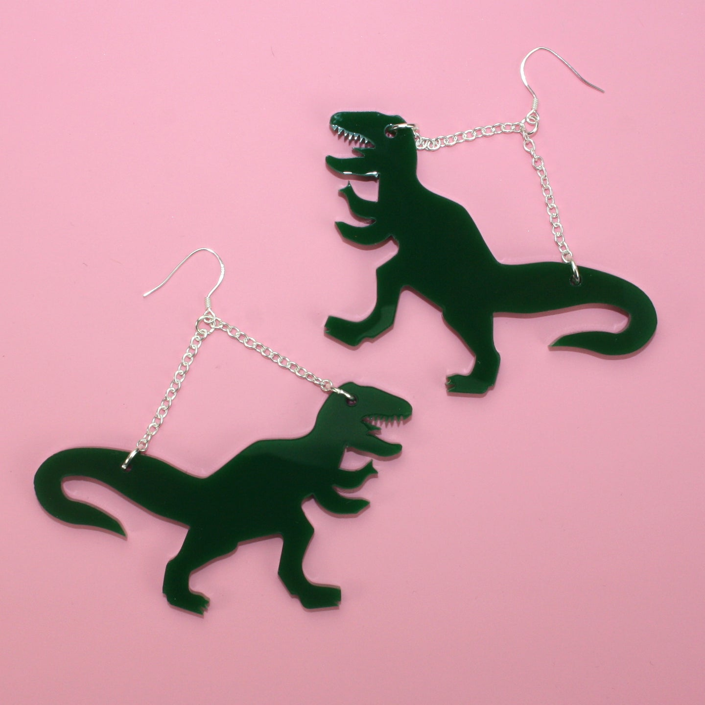 Large Dark Green T-rex Earrings