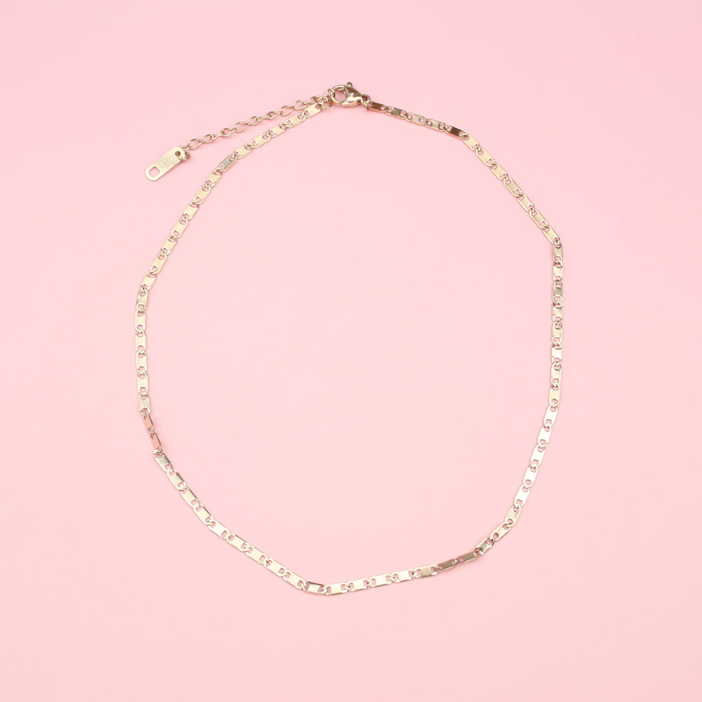 Bar Chain Choker (Rose Gold Plated/Stainless Steel)