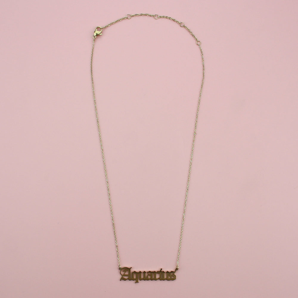 Aquarius Horoscope Necklace (Gold Plated)