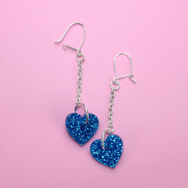 Blue Queen of Hearts Earrings (Small) - Sour Cherry