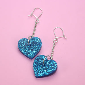 Blue Queen of Hearts Earrings (Medium)